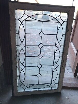 Sg 2132 Antique Leaded Glass Transom Or Vertical Window 24.25 X 40. Five