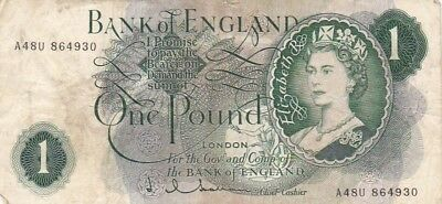1962-66 Great Britain 1 Pound Note, Pick 374c