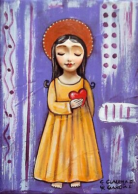 "Original & Mexican Folk Art. ""ANGEL WITH HEART"". 3D Effect on a 5""x7"" Canvas"
