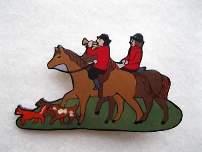 Horses & Riders, Fox & Hounds The Hunt Pin ~ Hand-Painted Acrylic Art Jewelry