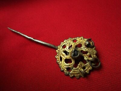 AMAZING - Ancient ROMAN SILVER,GOLD PLATED HAIR PIN . circa 300 AD.
