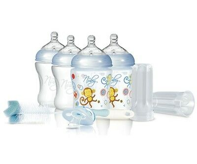 Nuby Baby Natural Touch Starter Set 4 Bottle, Pacifier, Anti Colic, Blue NEW