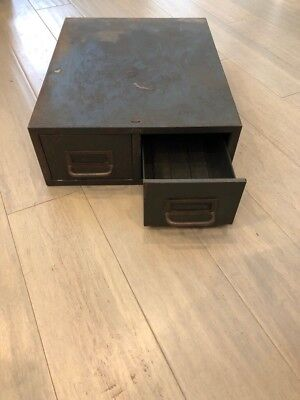 Vintage Antique Green Metal Industrial 2 Drawer Card File Filing Cabinet Patina
