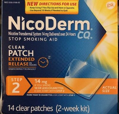 Nicoderm CQ Step 2 14 Clear Patches New Sealed READ 09/2017