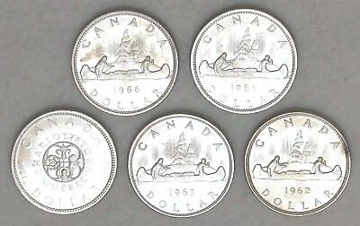 Five $1 UNC Canadian Dollar Silver Coins 1962-1966 FREE SHIPPING