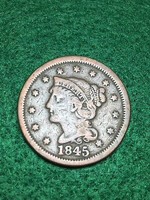 1845 Braided Hair Large Cent Coin
