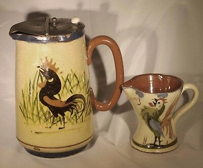 Antique Mottoware Coffee or Teapot & Vintage Mottoware Creamer Rooster Lot