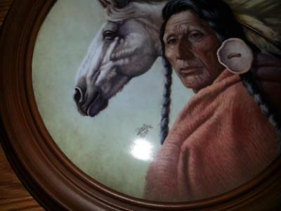 """1983 Gregory Perillo """"CHIEF BLACK KETTLE"""" Plate MINT FRAMED W/ cert. of auth."""
