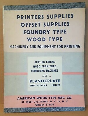 Vintage Catalog 1953-54 American Wood Type MFG Co Printers Supplies Foundry Type