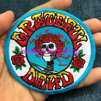 GRATEFUL DEAD Rock Band Logo Bertha Skull & Rose Embroidered Iron Sew On Patch