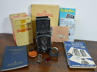 Rolleiflex Old Standard 6x6 TLR Camera lot w/ extra Lenses filters manuals hood!