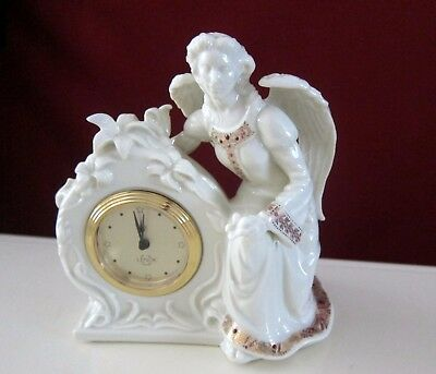 Lenox  Ivory China Jewels Collection  Shelf Clock With Angel