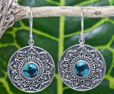 Handmade Sterling Silver .925 Bali Round/Heart Dangle Earring w Turquoise  #1