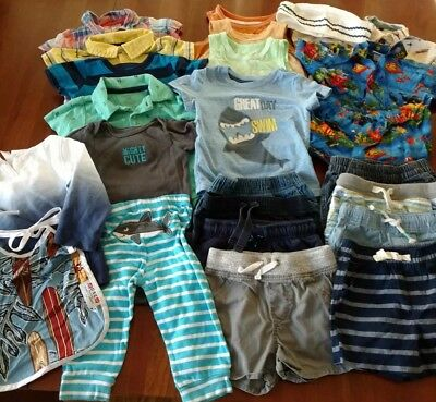 Cute Baby Boy Spring/Summer Clothing Lot - Size 12 Mos - 24 Pcs! Lots of Shorts!