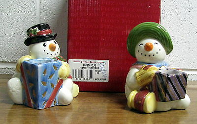Fitz and Floyd Pair of Snowman Candle Holders Frosty Folks New in Box