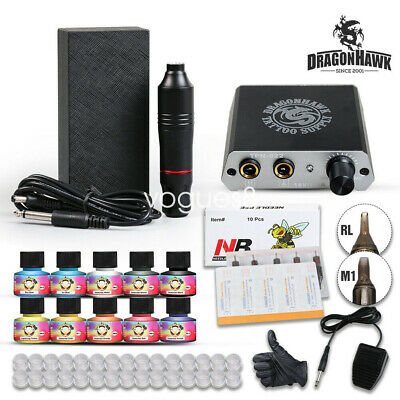 Complete Tattoo Kit Motor Pen Machine Gun Color Inks Power Supply Needles D3030
