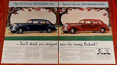 Large 1938 Packard Six & Eight Touring Sedan Ad  - Vintage 1930S American Class