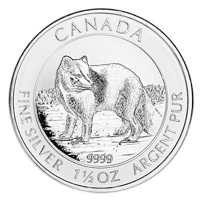 2014 Canadian Silver $8 Arctic Fox 1.5 Ounces