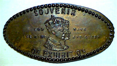 old SOUVENIR OF EXHIBITION KING & QUEEN VISIT elongated cent penny CANADA 15