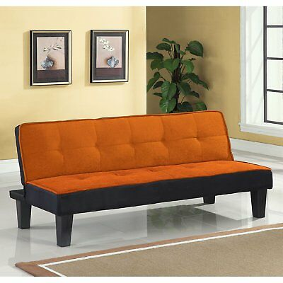Orange Futon Sofa Bed Convertible Couch Davenport Sleeper Office Living Room