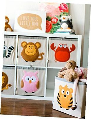 animal theme collapsible canvas storage cube bin hamper box for kids, red- crab