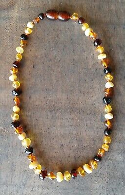 Genuine Baltic Amber Child Necklace - MULTI + WHITE - Jewellery Beads FREE POST