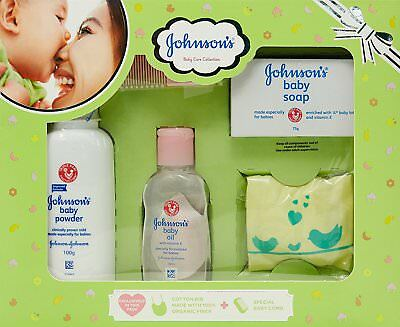 Johnson's Baby Care Collection with Organic Cotton Bib and Baby Comb (5 Items)