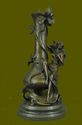Handmade SOLID 100% REAL BRONZE VASE WITH EROTIC LADY STATUE MADE BY LOST WAX