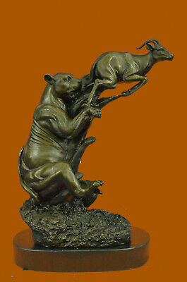Handmade Barye Jaguar attacking Baby Gazelle Bronze Marble Sculpture Art