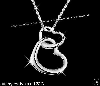 Double Love Heart Pendant Necklace Silver Xmas Gifts For Her Wife Couples Women