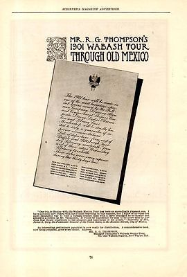 1900 Wabash Railroad Ad-Mr. Thompson's Mexico Tour