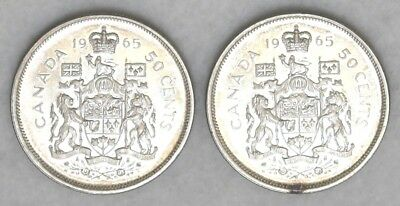 Lot of Two 50 cent UNC Canadian Half Dollar Silver Coins 1965, FREE SHIPPING