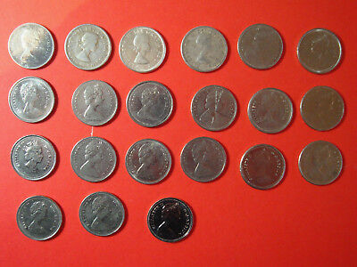 Lot of 21 10 Cents Canadian Coins 1960 -  1992 NO RESERVE