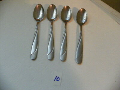 Set Of 4  Hampton  Swirl Glossy / Satin Finish  Teaspoons Stainless Flatware