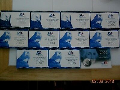 1999-2009 QUARTER State & Territories/DC Proof Sets w/ Box & COA , FREE SHIPPING