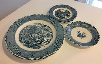 Currier and Ives Old Grist Mill Dinner Plates (3) Harvest Bread & Butter Plates