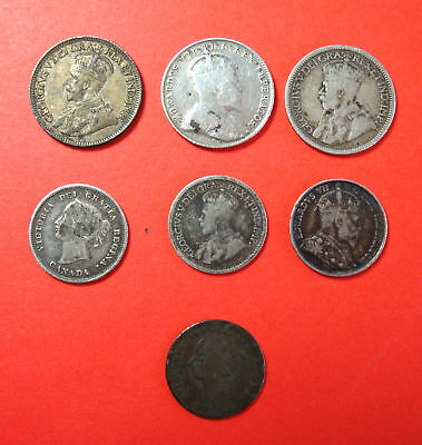 Lot Of 7 Canadian Coins 10 - 5 Cents .925 Silver  1870 - 1932 No Reserve