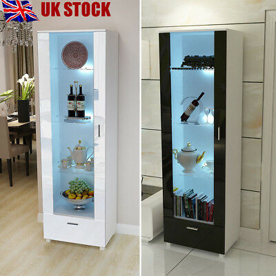 192cm Tall Display Cabinet Unit High Gloss White Glass Shelves with LED Light