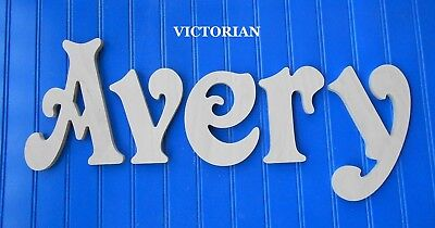 """Unpainted Wooden Wall Letters 8"""" size Home Decor Kid Room Baby Nursery Victorian"""