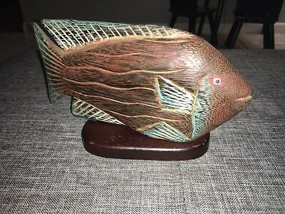 Hand Carved And Painted Vintage Wood Fish Decor