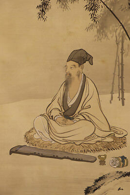 """JAPANESE HANGING SCROLL ART Painting """"Chinese wiseman"""" Asian antique  #E1255"""