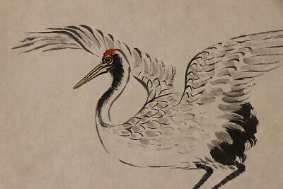 "JAPANESE HANGING SCROLL ART Painting ""Crane"" Asian antique  #E1250"