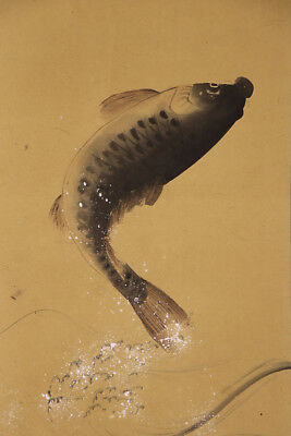 "JAPANESE HANGING SCROLL ART Painting ""Jumping carp"" Asian antique  #E1270"