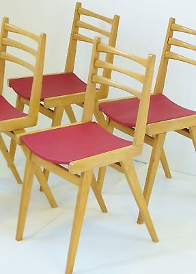SUITE 4 CHAIRS 1950 OAK ZAZOU RED VINTAGE FRENCH MIDCENTURY 50's CHAIRS