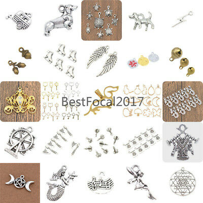DIY Alloy Charm Pendants Silver Brass Necklace Bracelet Jewelry Marking Crafts