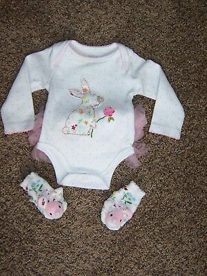 Infant Baby Girl Easter Bunny Themed One-zie & Booties, Sz 0-3 Months-Adorable!!