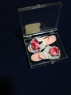 VINTAGE 50s MADAME ALEXANDER LISSY DOLL PINK SHOES W/ ROSES IN ORIGINAL BOX MINT