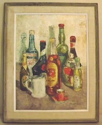 Original Helen Christensen 58' (Massachusetts) Italian Liquor Bottles oil Canvas