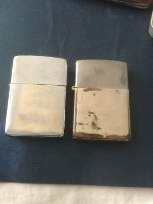 Vintage Pat 2517191 Chrome 1961/66  Lot Of 2 Zippo Lighters Cases Only No Insert