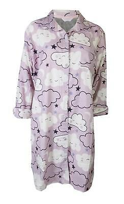 Ex Marks And Spencer M S Lilac Cloud Brushed Cotton Nightshirt Nightie 8-20  NEW 96de3a1c4